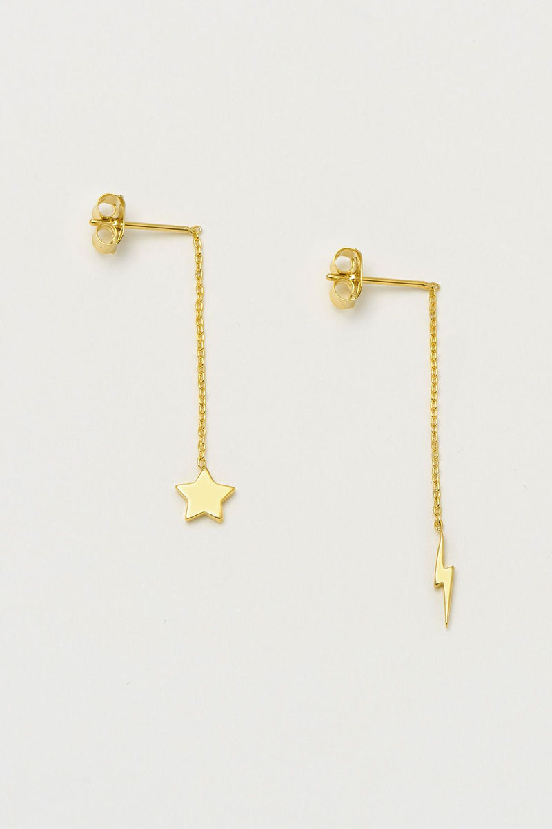 Star & Lightning Bolt Drop Earrings