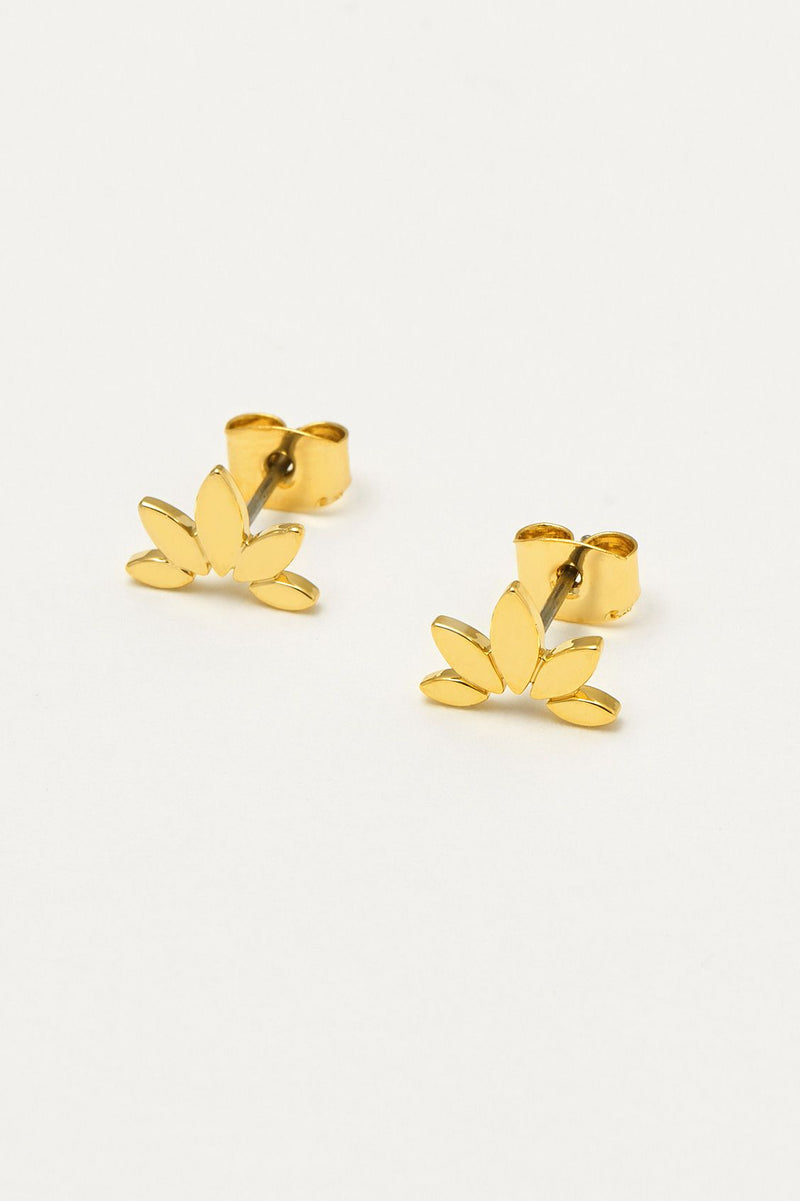 Half Flower Stud Gold Earrings