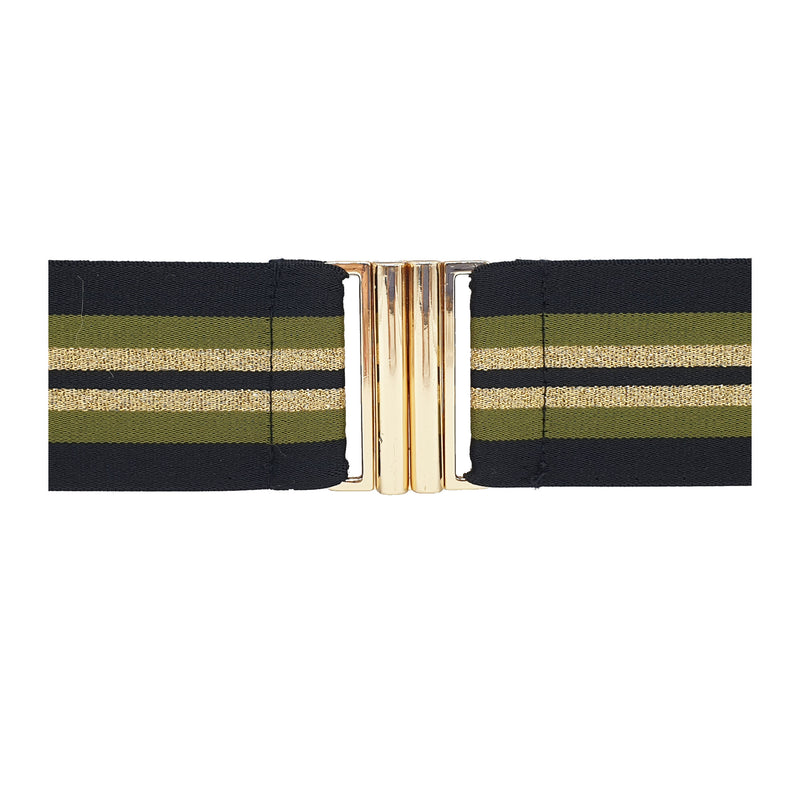 Lurex Belt - Khaki Stripe