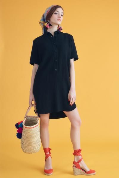 Linen Shirt Dress - Black