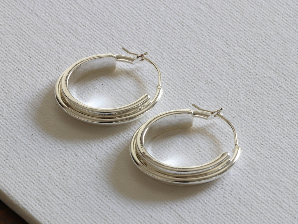 Irina Plated Brass Circular Hoop Earrings in Silver