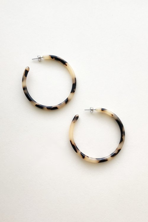 Large Blonde Tortoise Hoops