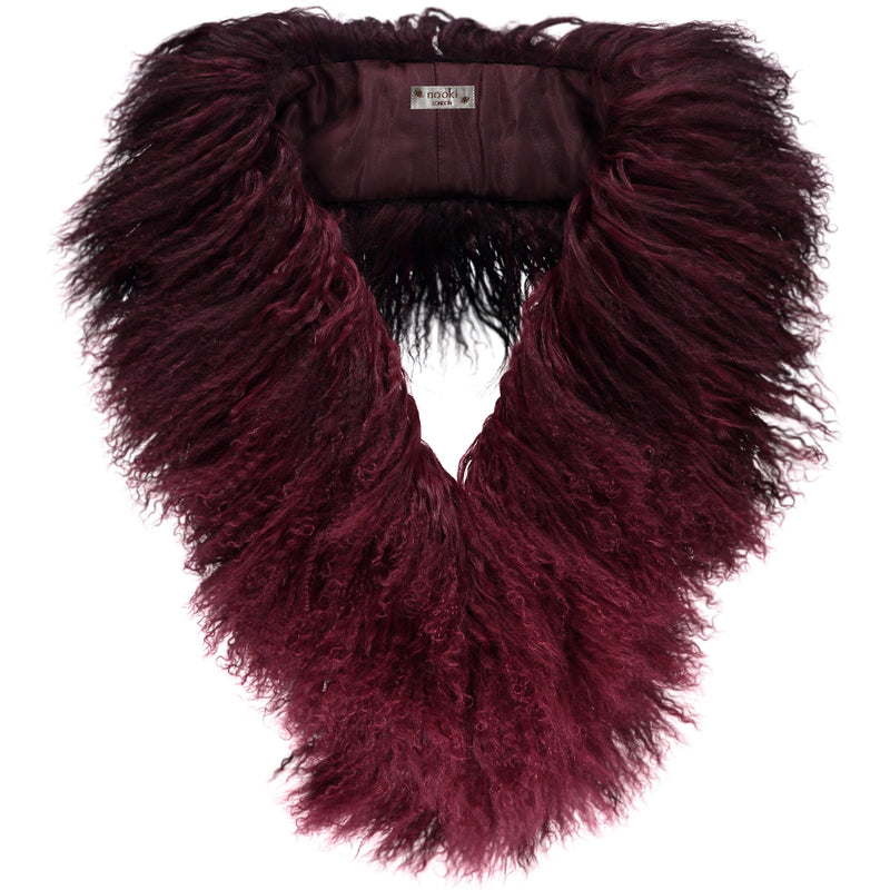Magda Sheep Skin scarf - Burgundy Mix