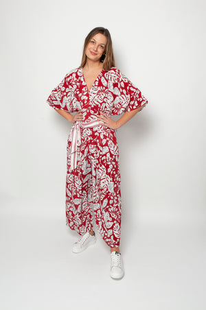 Kia Jumpsuit - Monstera Leaf Print