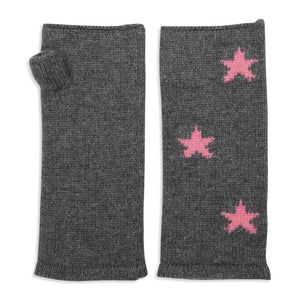 Grey and Pink Stars Cashmere Wrist Warmers