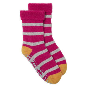 Slipper Socks Glitter Stripe - Pink & Yellow