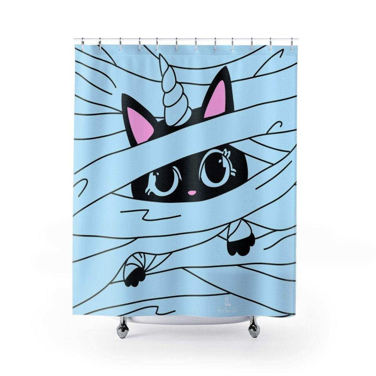 Art Your Cat Baby Black Unicat Shower Curtain