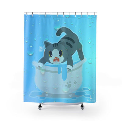 Art Your Cat Bathtub Scaredy-Cat Shower Curtain