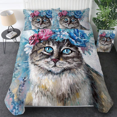 Art Your Cat Beautiful Cat Oil Painting - 3pcs Bedding Set