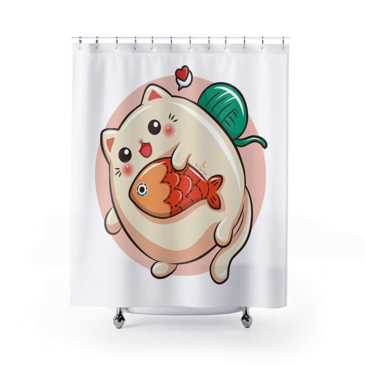 Art Your Cat Big Round Cat with Fish Shower Curtain