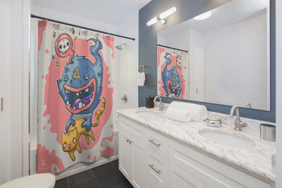 Art Your Cat Cat and Monster Shower Curtain
