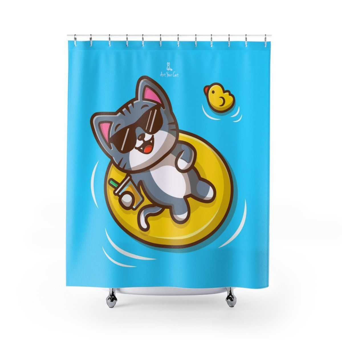 Art Your Cat Cat Beach Shower Curtain