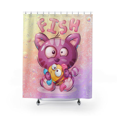 Art Your Cat Cat Bubbles and Fish Shower Curtain