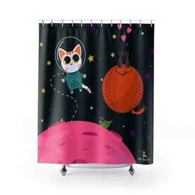 Art Your Cat Cat in Galaxy Shower Curtain
