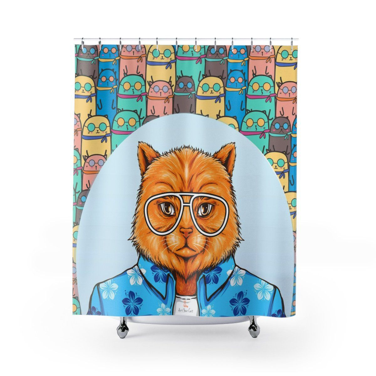 Art Your Cat Cat in Glasses Shower Curtain