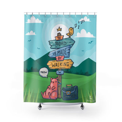 Art Your Cat Cat Signboard Shower Curtain