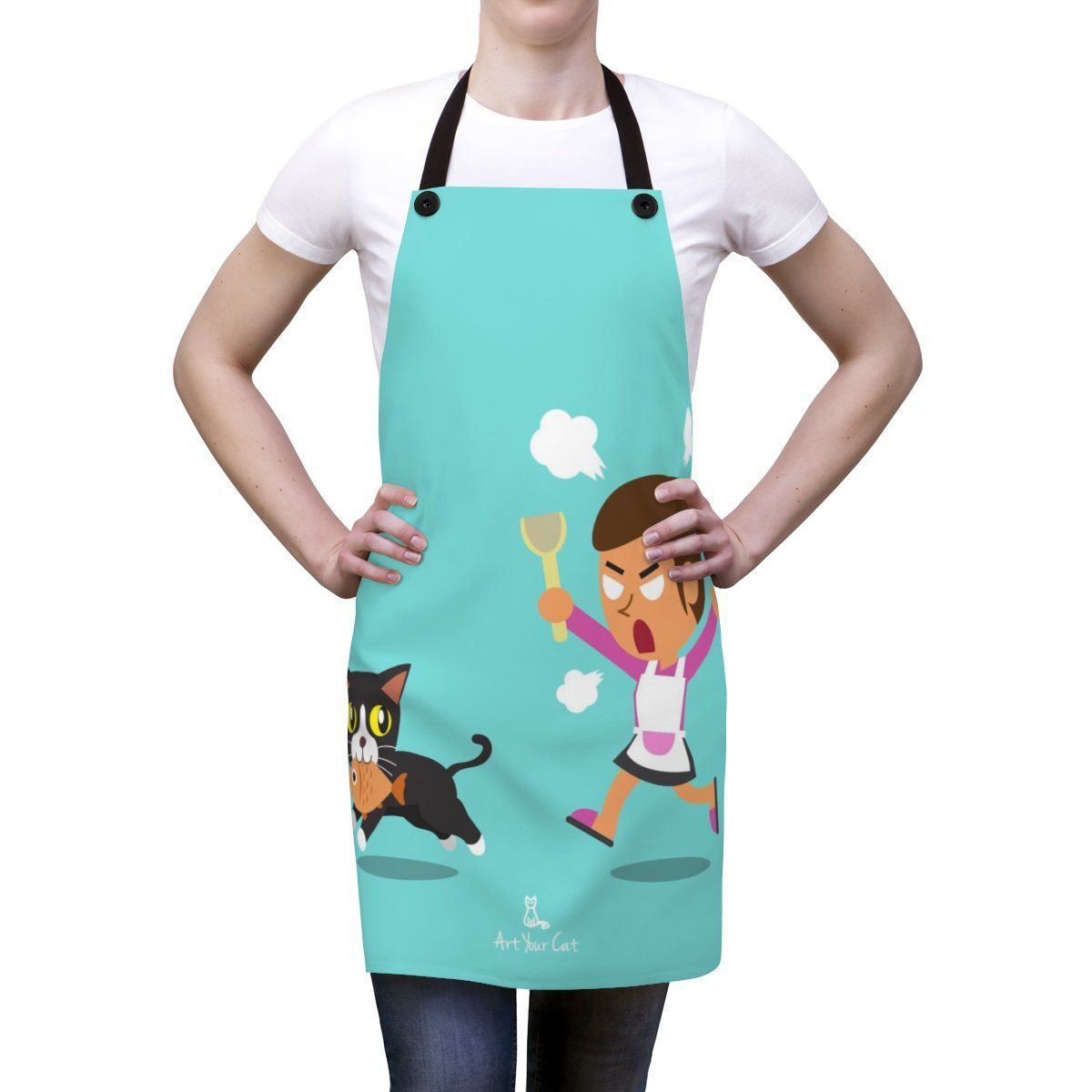 Art Your Cat Cat Stealing Fish Apron