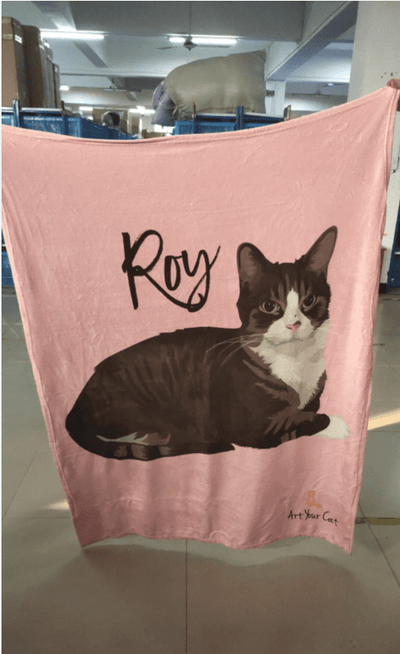 Art Your Cat Custom (Your Pet) Fleece Blanket
