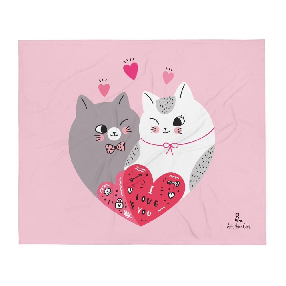 Art Your Cat Cute Cats Love You - Valentine's Blanket