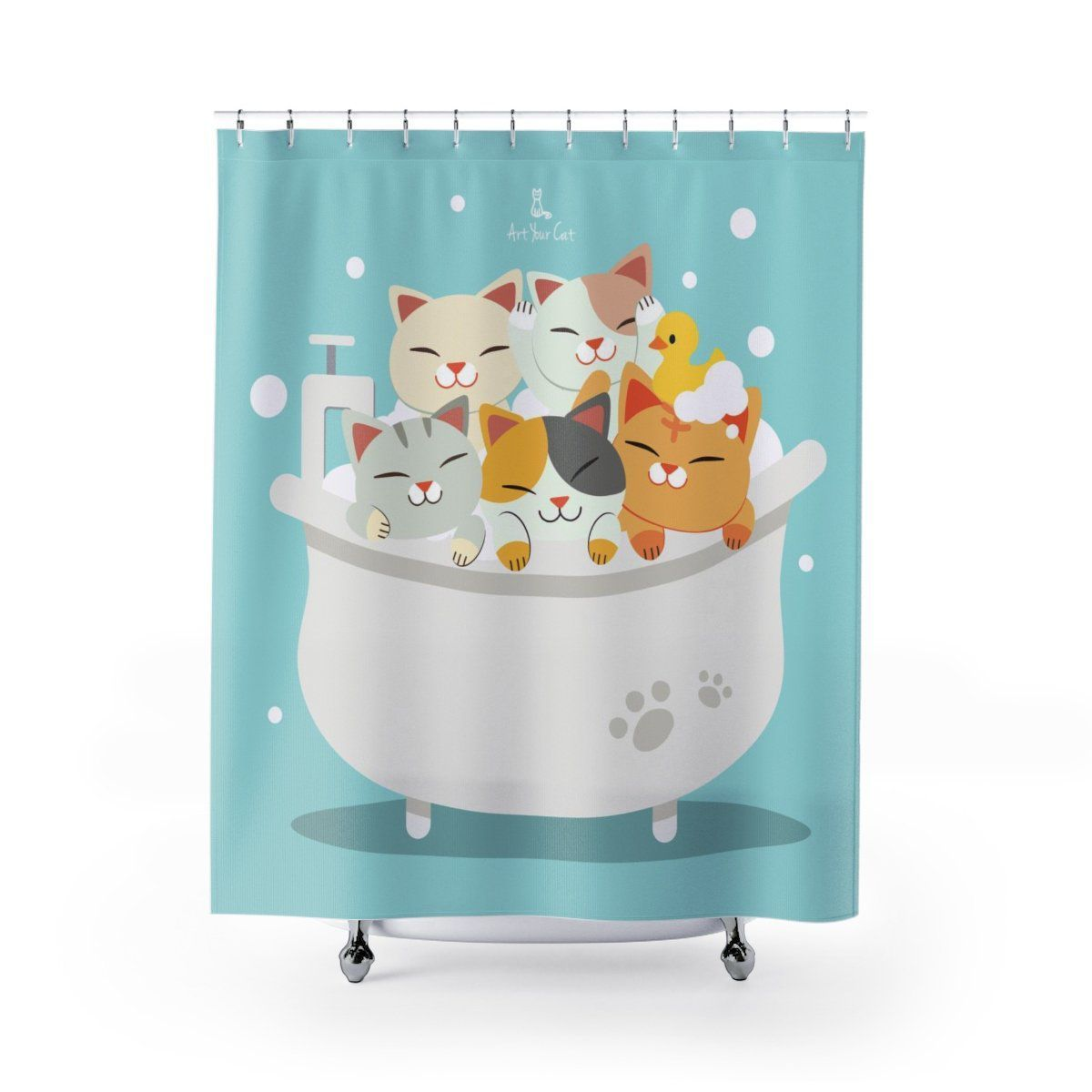 Art Your Cat Cute Kitties Bathtub Shower Curtain