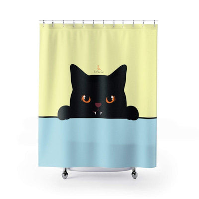 Art Your Cat Cute Peeking Black Cat Shower Curtain