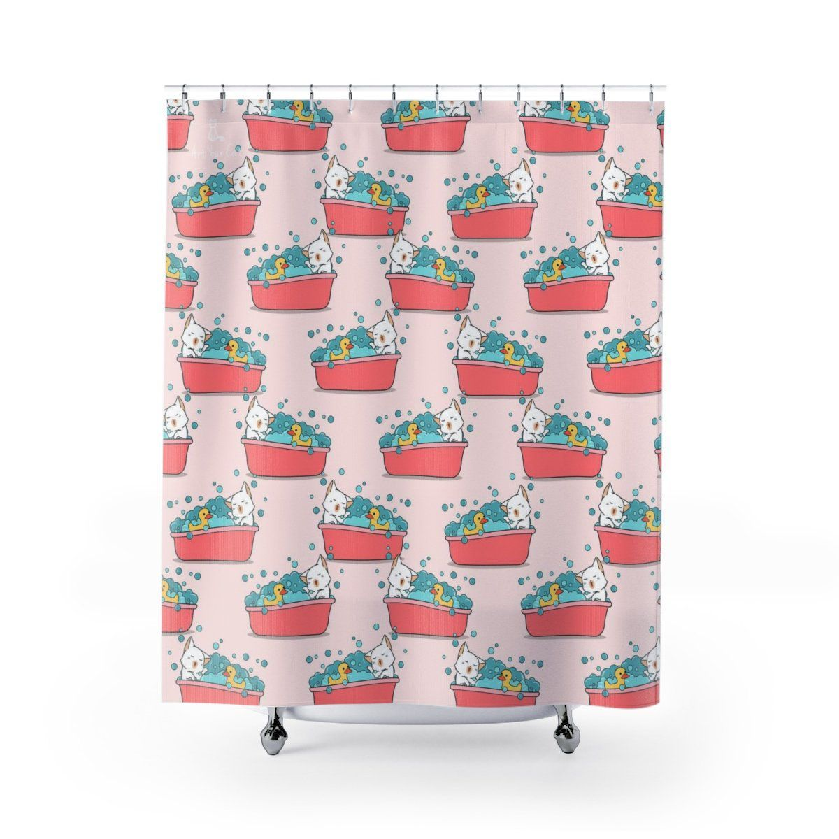 Art Your Cat Happy Cat and Duck Shower Curtain