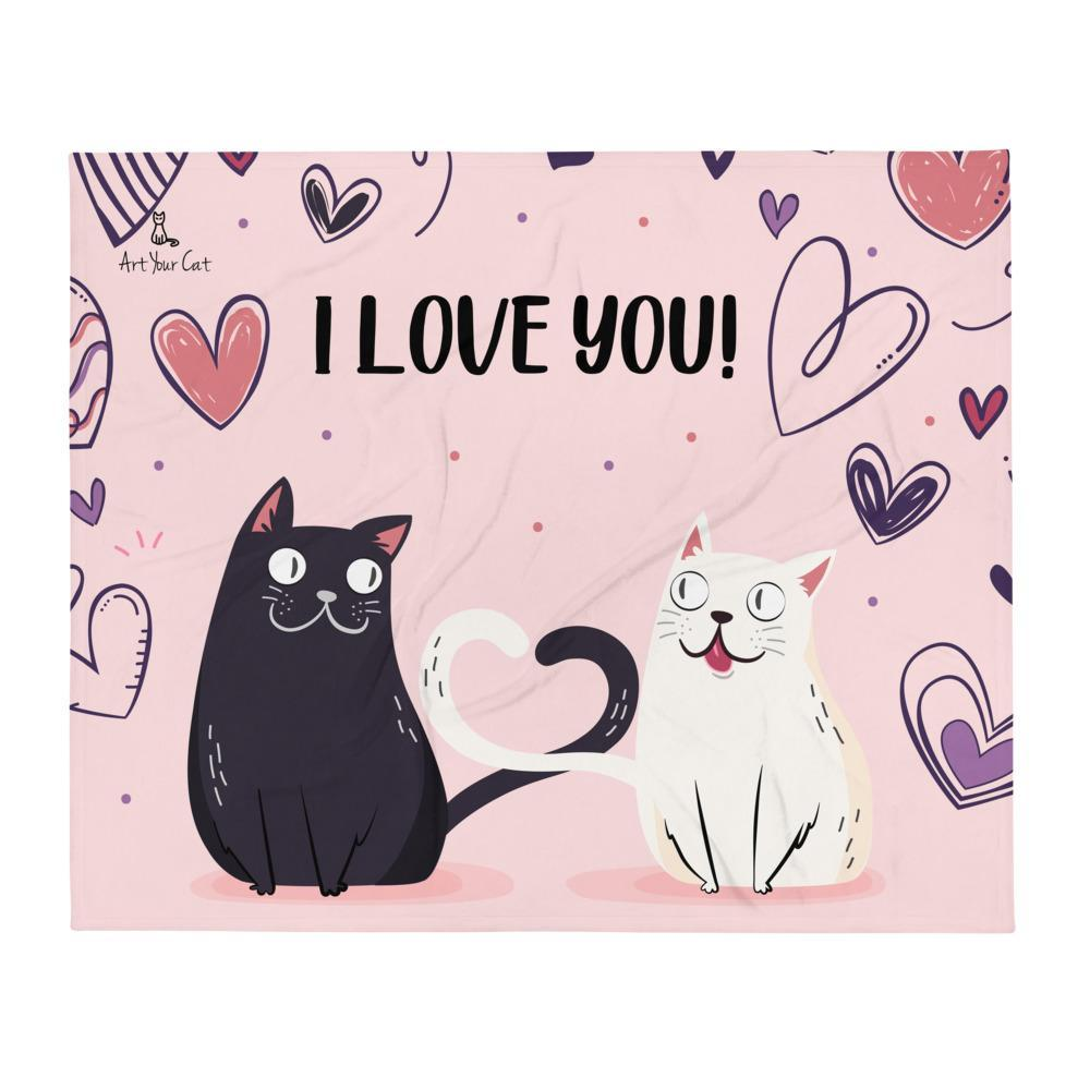 Art Your Cat Love Black and White Cat - Valentine's Blanket