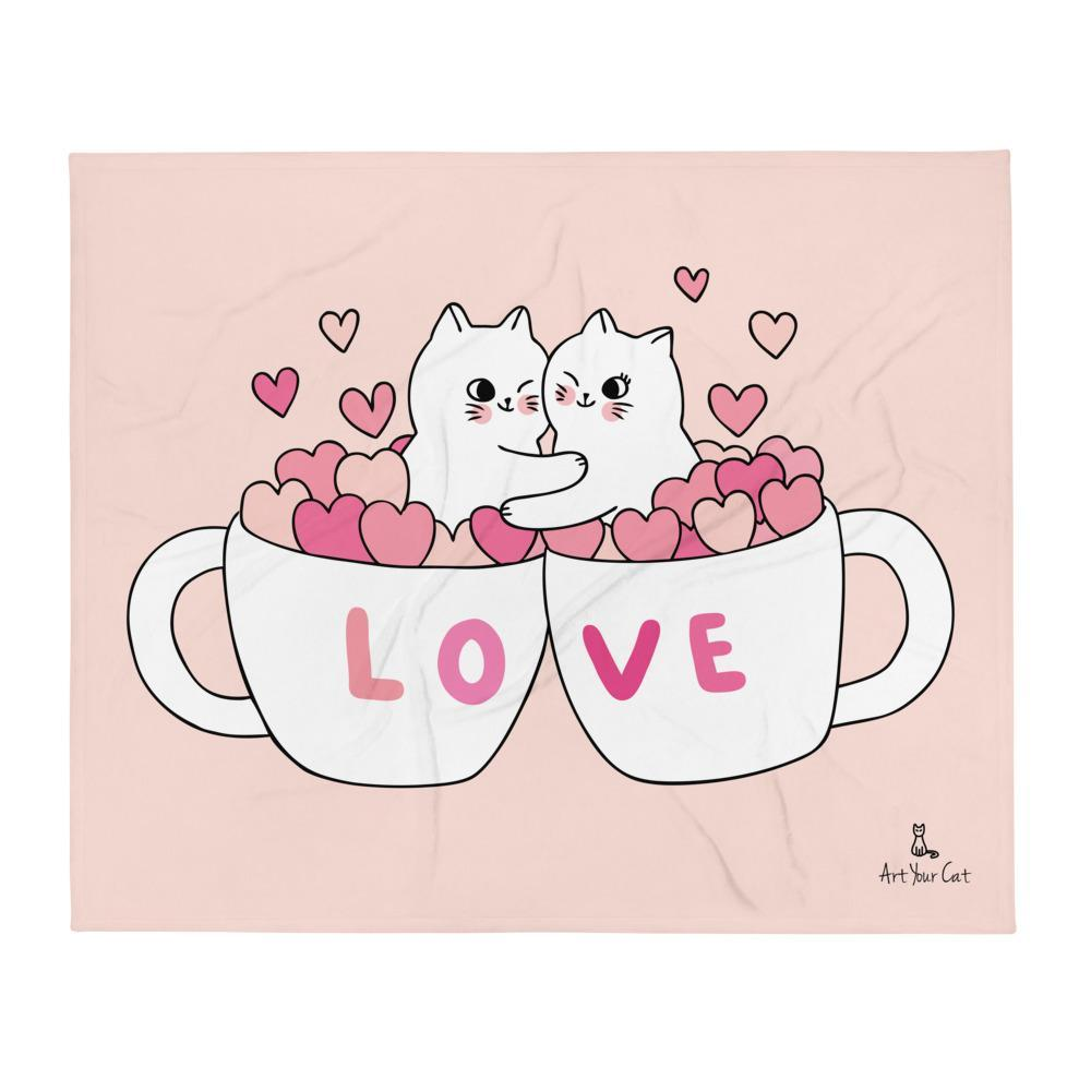 Art Your Cat Love Hearts and Cats Blanket