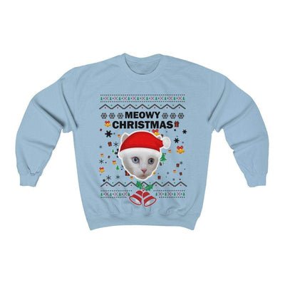 Art Your Cat Meowy Christmas Sweatshirt (Custom 1-20 faces)