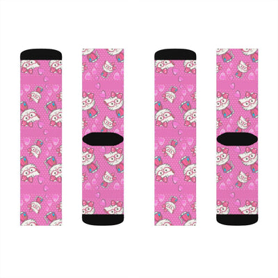 Art Your Cat Pink Kitty Socks
