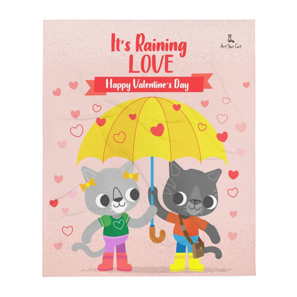 Art Your Cat Raining Meow Love Valentine's Blanket