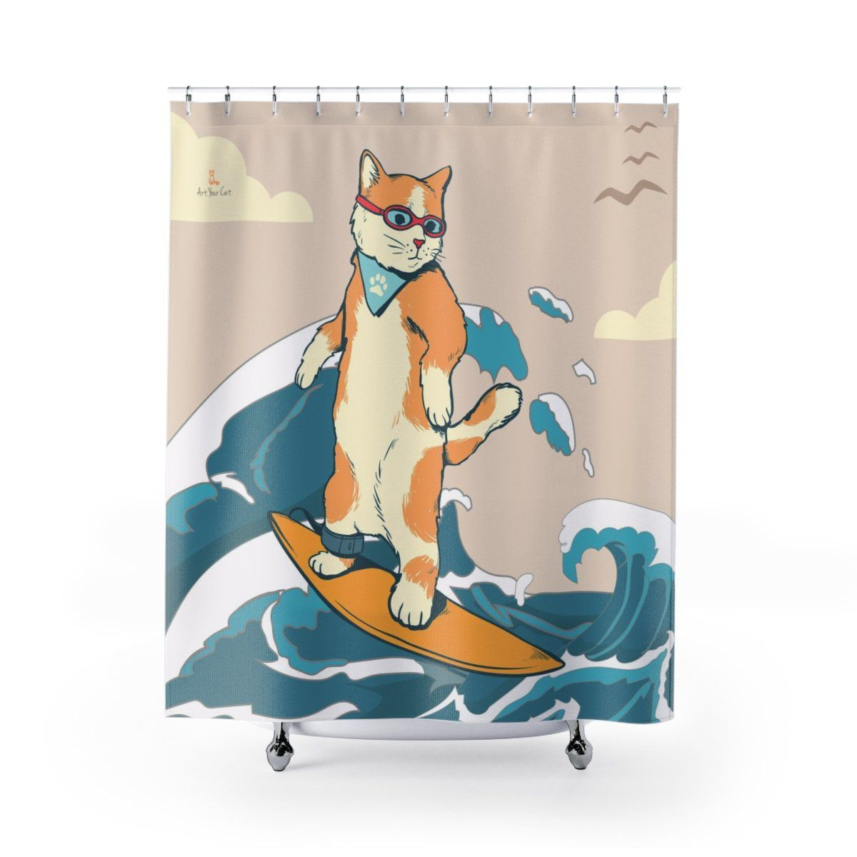 Art Your Cat Surfing Cat Shower Curtain