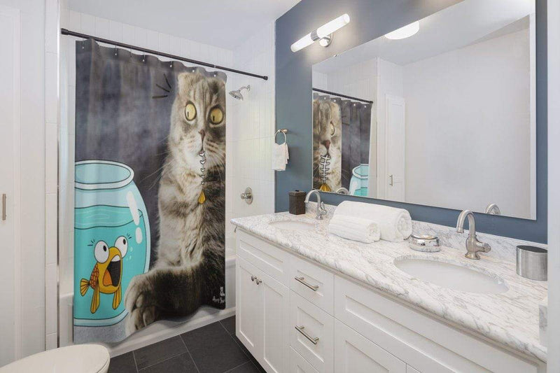 Art Your Cat Surprised Fish and Cat Shower Curtain