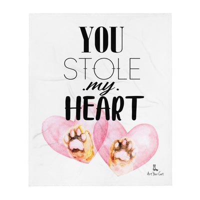 Art Your Cat Sweet Paws Heart - Valentine's Blanket