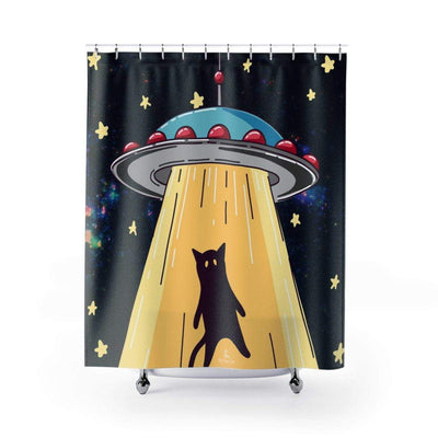 Art Your Cat UFO Cat Abduction Shower Curtain