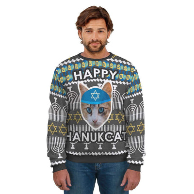 Art Your Cat Unisex Hanukcat Sweater #3 - Your Beautiful Cat (1-20 faces)