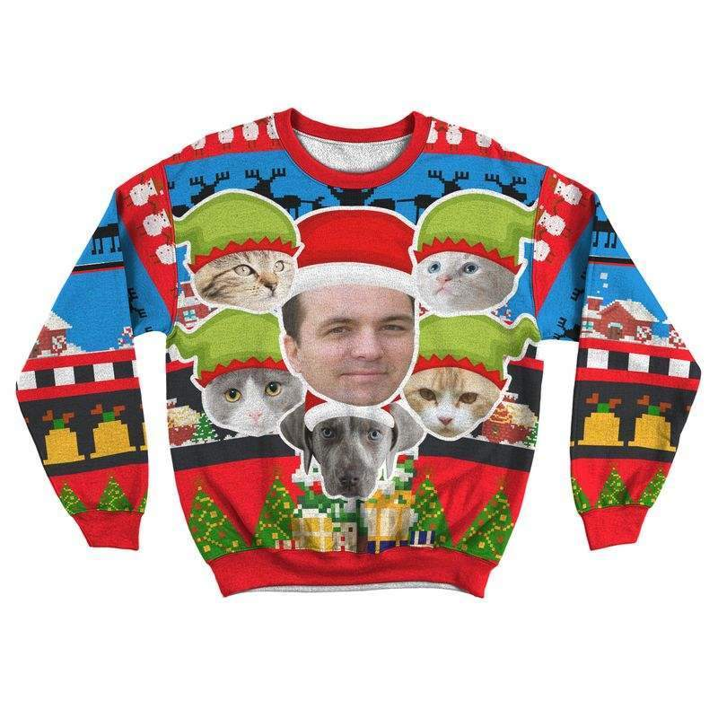 Art Your Cat Unisex Ugly Sweater #6 - Your Beautiful Cat (1-20 faces)