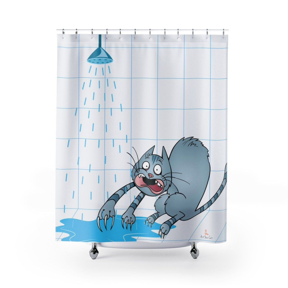 Art Your Cat Water Scaredy-Cat Shower Curtain