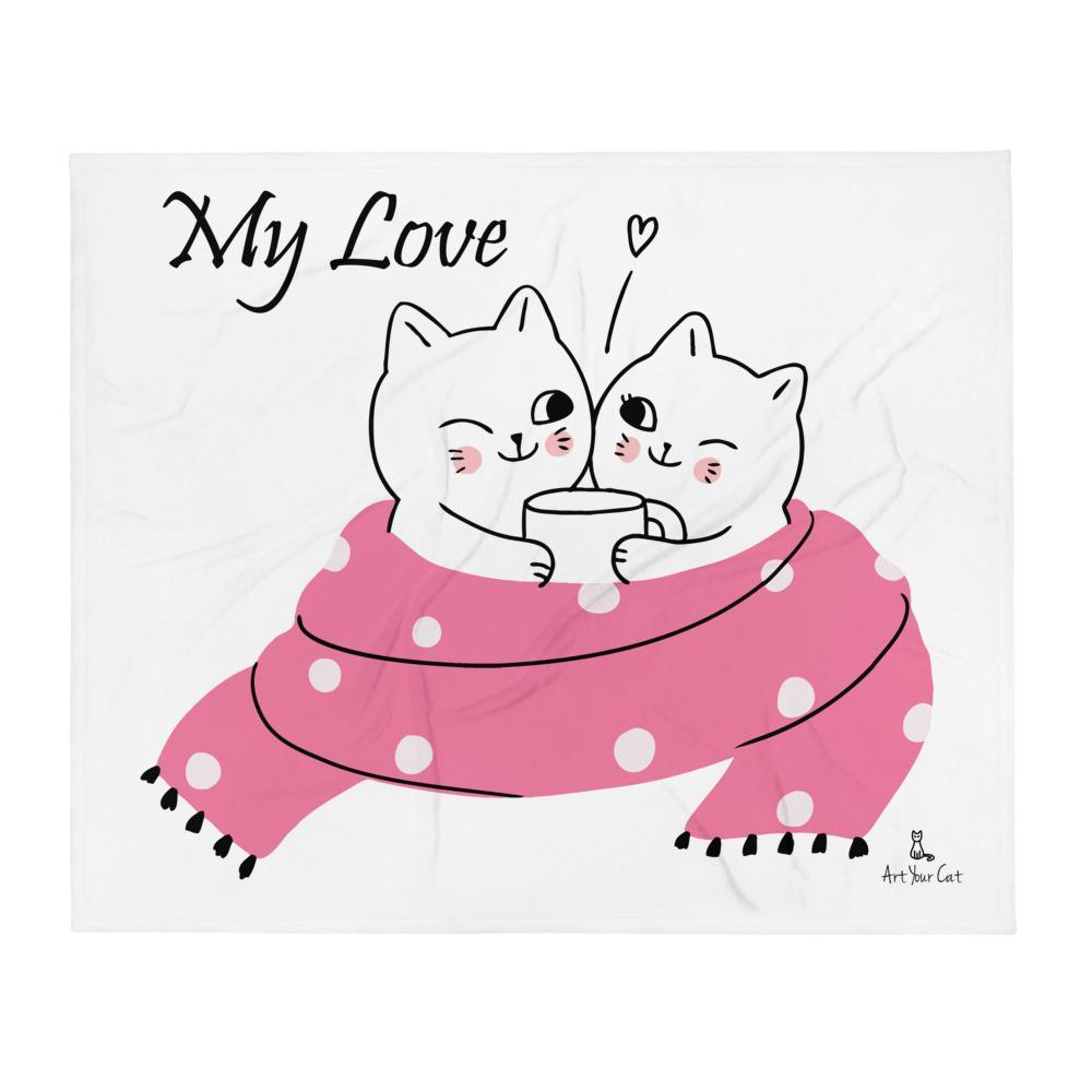 Art Your Cat Winter Cats Warm Heart - Valentine's Blanket