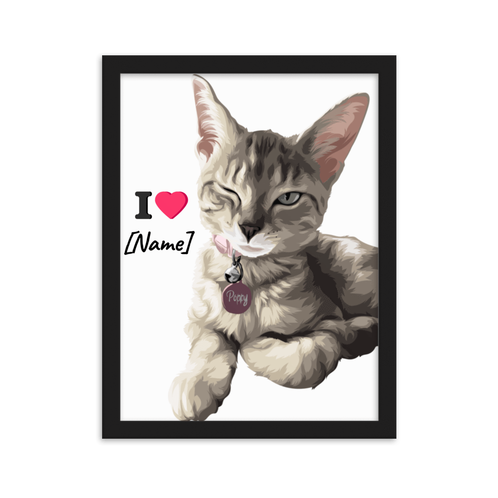 Art Your Cat YOUR CAT on Framed matte paper poster