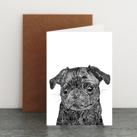 'Olive The Black Pug' Card