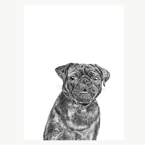 'Elvis The Black Pug' Print