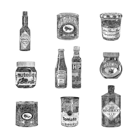 'Set of Four Kitchen Pantry Prints'
