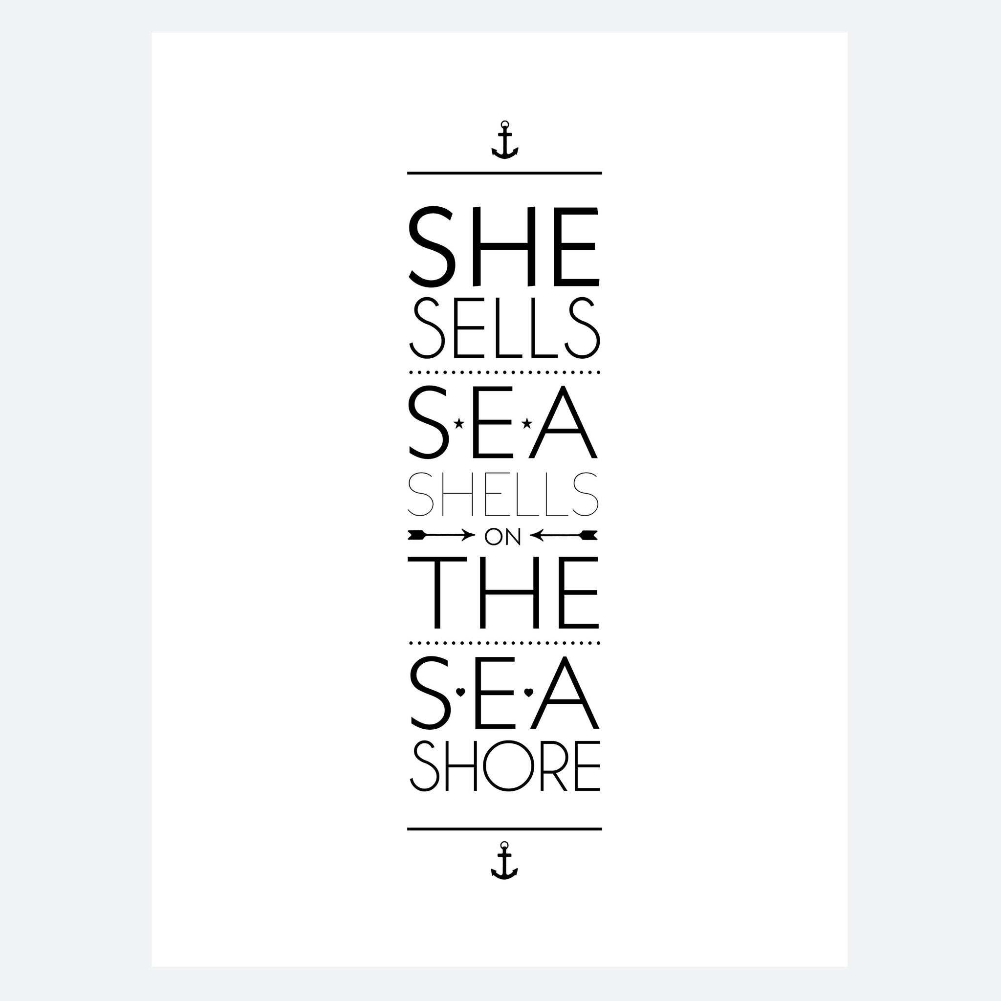 She Sells Sea Shells On The Sea Shore Print
