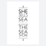 'She Sells Sea Shells On The Sea Shore' Print