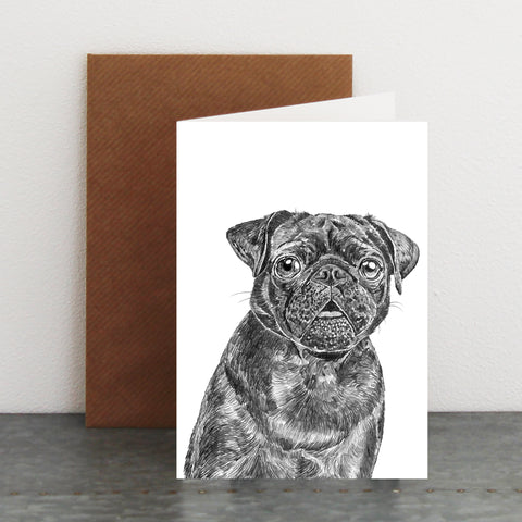 'Elvis the Black Pug' Card