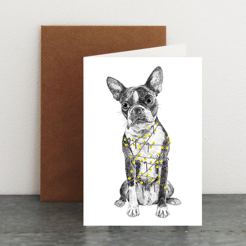 'Boston Terrier Christmas Tree' Card
