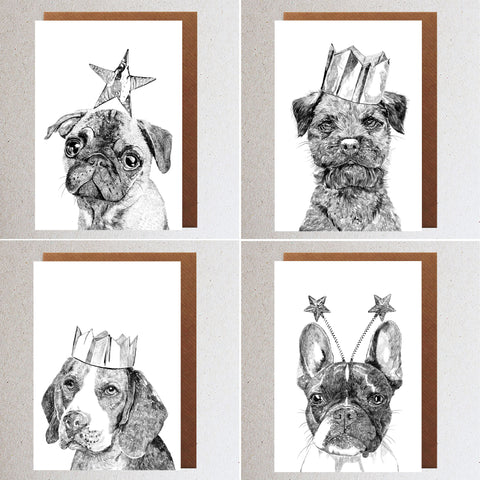 'Celebration Dogs' Set of 4 Cards