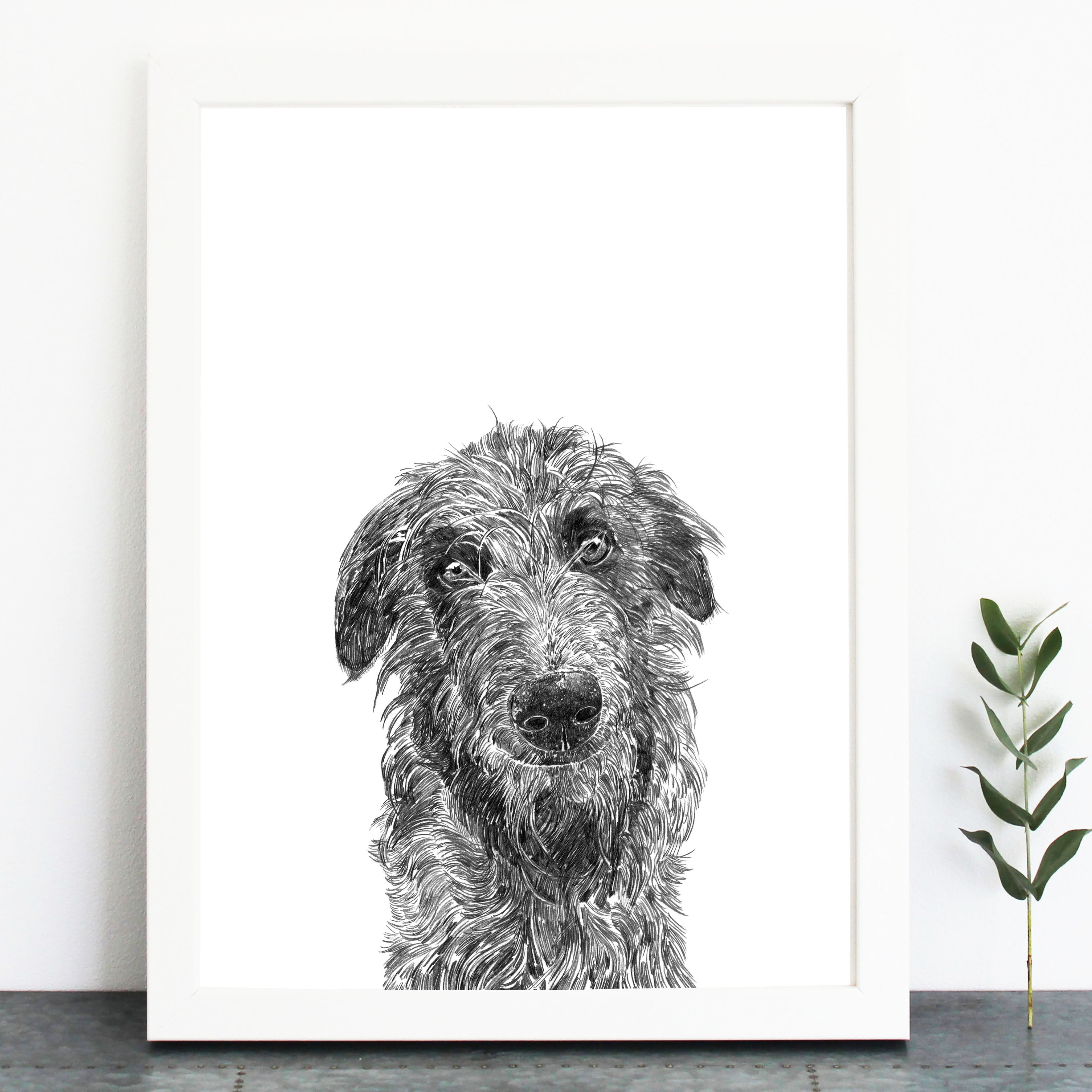 Deerhound Dog Print