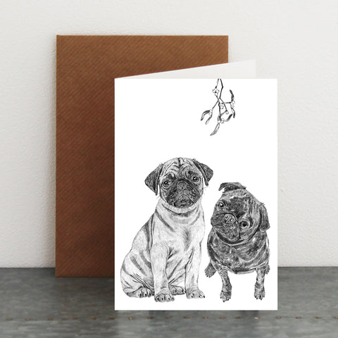 'Mistletoe Pugs' Christmas Card